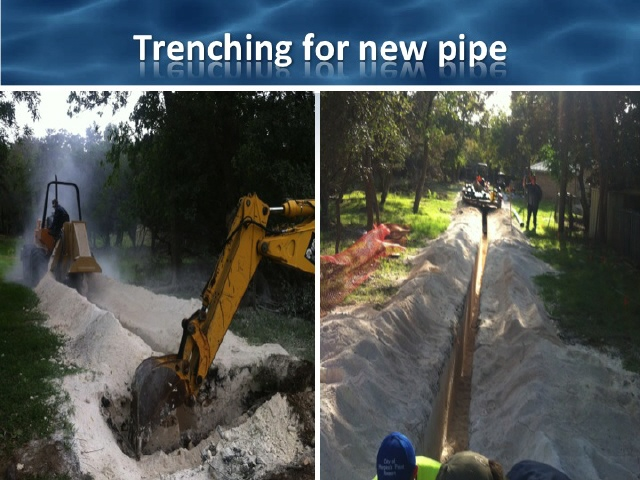 Trenching for new pipe